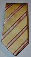 SEAN JOHN Butter Yellow Ivory Brown Textured Diagonal Stripe 100% Silk Neck Tie