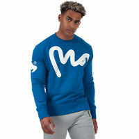 Mens Money Big Money Crew Sweat In Blue- Ribbed Cuffs, Hem And Collar- Crew