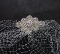 White or Ivory Birdcage Veil Hair Clip Silver Diamante Bridal Fascinator 6188