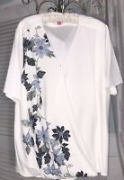 NEW Plus Size 3X 2X White Blue Floral Blouse Vince Camuto Top $109