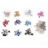 100x 4mm Scrapbook-Loch zufällige gemischte Farbe Metal Eyelets DIY Kleidung ~