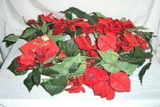 6ft Christmas Foliage Red Glitter Poinsettia Flower Garland Decor