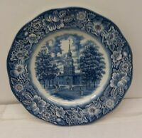 Liberty Blue Staffordshire Transferware Dinner Plate - Independence Hall 10""