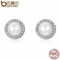 BAMOER Fine S925 Sterling silver Stud Earrings With Pearl & CZ For Women Jewelry