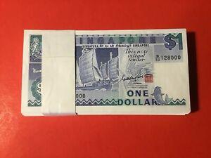 Singapore 1987 $1 pick #18a Bundle 100 pcs