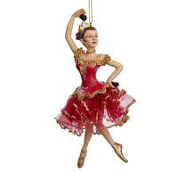 """Spanish Dancer Nutcracker Ballet-Kurt Adler 7"""" resin X-mas ornament castanet red"""