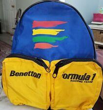 Formula 1 Racing Team Benetton Backpack Vintage Bag Knapsack Primary Colors F1