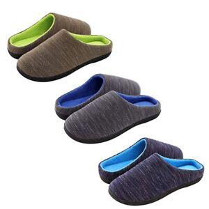 Mens Women Memory Foam Slippers Warm Plush Lining House Shoes Machine Washable