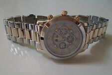 Men/Women Silver & Gold finish designer inspired style fashion Geneva link watch