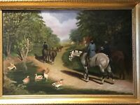 20TH CENTURY OIL ON CANVAS...FIGURES RIDING IN WOODED LANDSCAPE...SIGNED