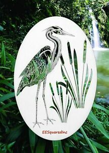 Egret Left Static Cling Window Decal OVAL 15x23 Bird Decor for Glass Doors