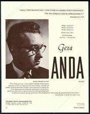 1959 Geza Anda photo piano recital tour booking trade print ad