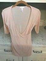 LEITH Small Pink Stretch Knit Half Sleeve Lightweight Sweater Top