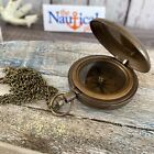 Antique Finish Brass Push Button Compass - Old Vintage Pocket Style - Necklace
