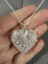 "New FILIGREE HEART Charm Pendant & 24"" Snake Necklace Set 925 Silver Valentine's"