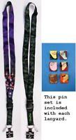 """Disney Trading Pin Neck Lanyard 26"""" VILLAINS Characters - Reversible & Pins"""