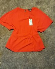 Primark Atmosphere Red Gold Twist Peplum Top In Stores Bnwt 10