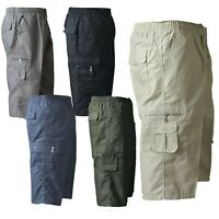 Mens Summer Elasticated Lightweight 3/4 Cotton Cargo Shorts Pants All Sizes