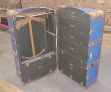Antique INDESTRUCTO Brides Wardrobe Steamer Trunk COMPLETE w Drawers & Hangers