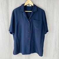 *VINTAGE* PIERBE INTERNATIONAL Navy Blue Short Sleeve SIZE 16 UK Blouse V1