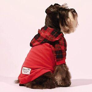 Fitwarm 100% Cotton Plaid Dog Clothes Lightweight Puppy Hoodie Doggie Jacket