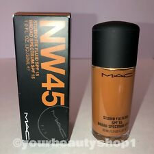 New Mac Foundation Studio Fix Fluid Foundation  SPF 15 NW45 100% Authentic