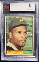 "1961 Topps ROBERTO ""BOB"" CLEMENTE Baseball Card #388 Bvg 8 Nm-Mt Psa Crossover?"