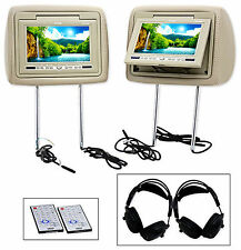 New Valor HRP-70BE Beige/Tan Dual Headrest Monitors with DVD + Headphones