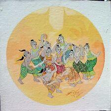 Thai Painting Song Kran ACRYLIC HAND PAINTED ON CANVAS HOME DECOR Office Decor