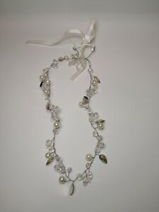 Claire's Diamante Crystal Necklace Silver Ribbon Evening Party Wedding Jewellery