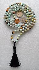 Amazonite Hand Knotted 8mm 108+1 Chakra Mala Meditation Beads Necklace-Energized