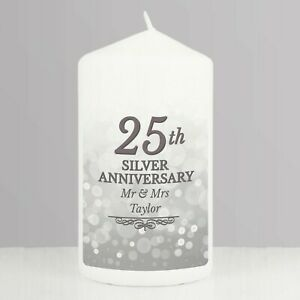 Personalised 25th Silver Wedding Anniversary Pillar Candle Gift Present Idea