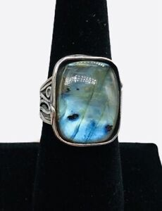 OR PAZ PZ Israel Sterling Silver 925 Labradorite Curved Branch Ring Size 8.5