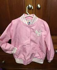 Pink Satin Girls Yankees Jacket Size 5-6 Majestic MLB NY New York Youth Kids