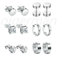 6Pairs Stainless Steel Silver CZ Huggie Hoop Earrings Ear Studs Piercing Women's
