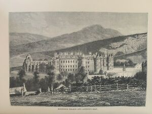 1880 View Of Holyrood Palace And Arthur's Seat, Scotland Original Antique Print