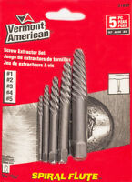 5x Screw Extractor Set Bolt Remover Drill Out Bits VERMONT AMERICAN Spiral Flute