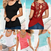 Womens Summer Short Sleeve T-Shirt Blouse Casual Cut Out Cold Shoulder Top Tee