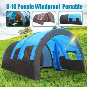 US 8-10 Person Blue/Camouflage Tent Outdoor Hiking Camping Shelter Waterproof .