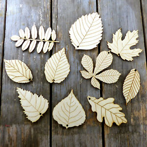 10 Mixed Wooden Leaves with Detail Craft Shapes 3mm Ply Trees Plants Autumn