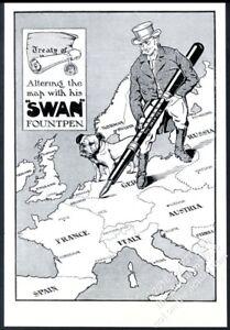 1915 Bulldogge John Stier Kunst Schwan Brunnen Stift UK Vintage Aufdruck Anzeige