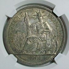 1901-A FRENCH INDOCHINE SILVER PIASTRE NGC AU-58 L@@K