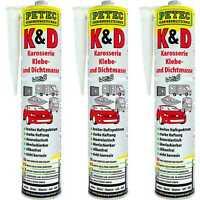 3x Petec K&D Karosserie Klebe- und Dichtmasse weiß 310ml