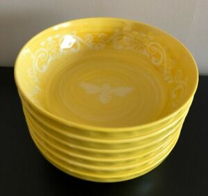x6 RACHEL ASHWELL Melamine Bowls YELLOW Medallion Swirl BEE Rustic Tuscan NWT