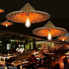 Hand Knitting Bamboo Retro Straw Hat Pendant Lamp Ceiling Light Chandelier Bulb