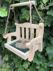 Swing Bench Bird Feeder - mini hanging garden seat, carved wooden stylish feeder