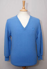 """Crombie homme bleu ciel écossais laine d'agneau Col V Jersey Pull Pull S 36"""" 92"""