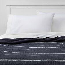 Full/Queen Textured Stripe Flannel Quilt Navy - Threshold