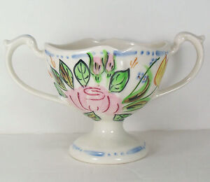 Blue Ridge Southern Pottery Nove Rose Open Sugar Bowl Floral Pink Yellow Footed