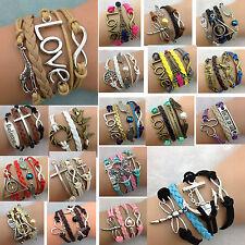 36 Modelle  --   Armband Vintage Infinity Freundschaft Love Anker Perle Flügel